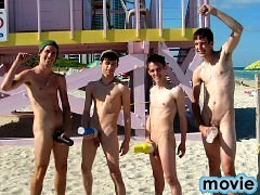 Beach boys flashing around town with crazy cocks