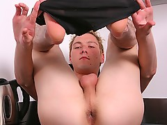 Ariel flexes and then strokes his cock for you.