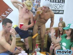 Long Horn Beer pong with a group of hot guys naked