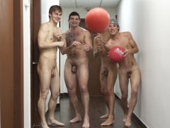Frat guys new pledge is to play naked n do thing